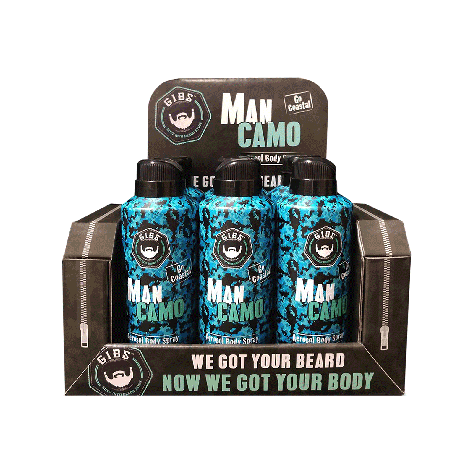 Man Camo Aerosol Body Spray - 6 Count Display