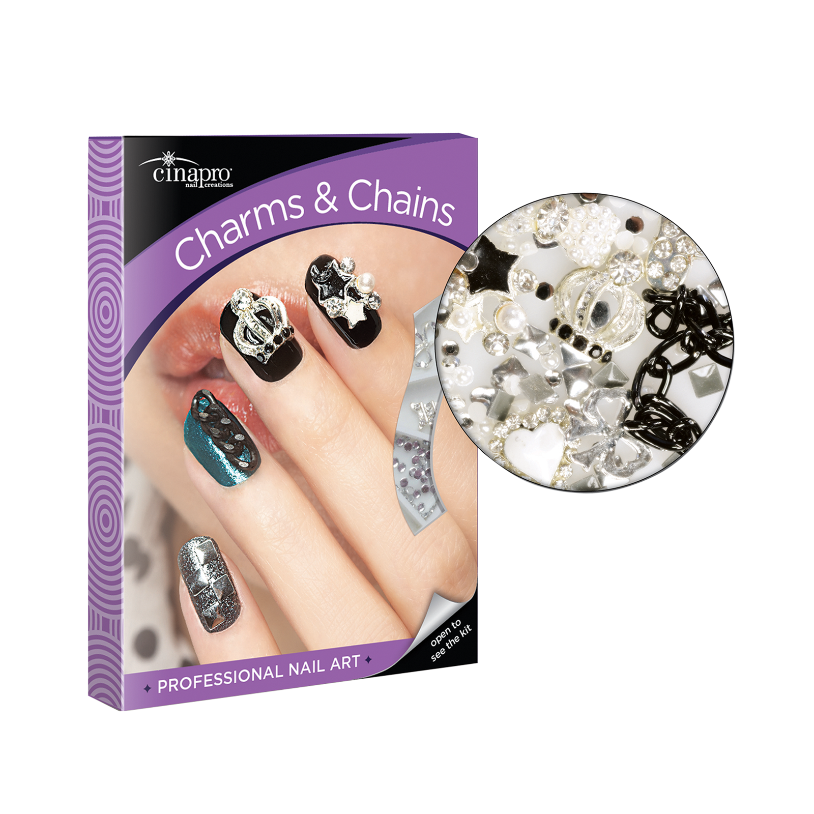 Cinapro Professional Nail Art Kit Charms Chains Cuccio Cina