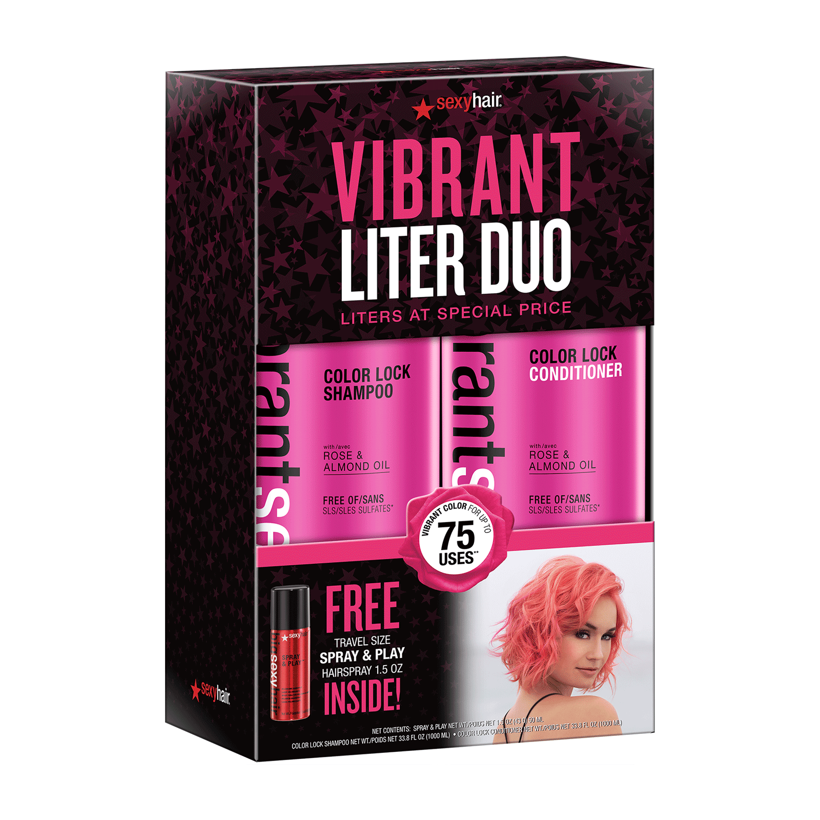 Vibrant Sexy Hair Liter Duo with Free Mini Spray & Play