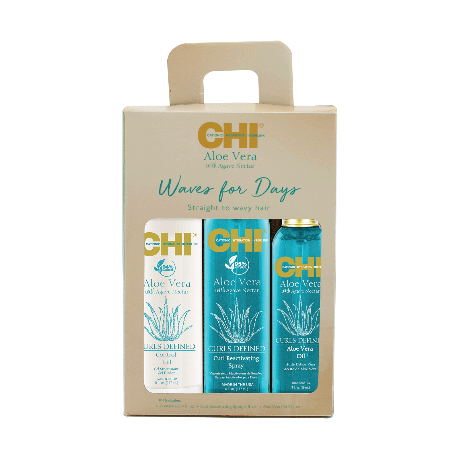 CHI Aloe Vera Agave Oil, Reactivate Spray, Control Gel
